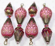 Vintage Dangles Hot Pink Crystal & Acrylic Beads Drops Pendants Charms B48