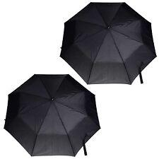 2 x Totes Super Mini Compact Umbrella Black Steel Men's With Logo Shaped Handle