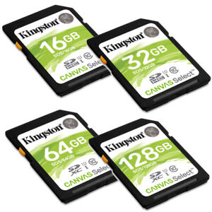 Kingston 100MB 128GB 64GB 32GB 16GB SD SDHC SDXC HD Video Flash Card Lot Class10