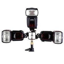 Metal Tri-Hot Shoe Mount Flash Holder Bracket Stand for Canon Nikon Pentax Metz