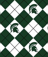 Package of Short Pieces Michigan State MSU Argyle Fleece Fabric Print D007.03