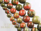 50pcs 4mm Round Unakite Gemstone Loose Spacer Beads Jewelry Findings