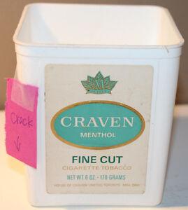 Craven Menthol Fine Cut Cigarette Tobacco 6oz Tub Canada English French Cracked