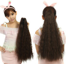 24inch Yaki Kinky Straight Claw Clip in Synthetic Ponytail Soft Hair Extensions
