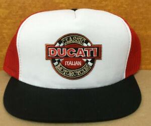 Vintage Ducati Motorcycles Adjustable Snapback Trucker Mesh Hat Cap New