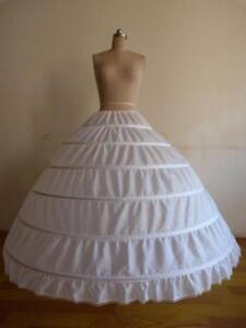 klassisch Neu 6 Ringe Reifrock Weiß Brautkleid Unterrock Petticoat verstell C1