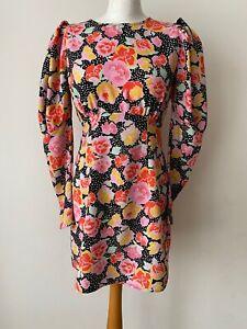 Topshop Open Back Long Sleeve Floral Dress Size 10