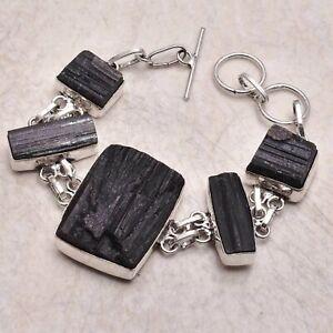 Black Tourmaline Rough Ethnic Gift Jewelry Handmade Bracelet 37 Gms AB 49815