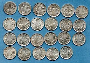 23 X AUSTRALIAN SILVER THREEPENCE COINS DATED 1910 - 1963. AUSTRALIA JOB LOT.