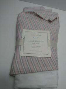 Pottery Barn Montauk Belgian Linen Crib Skirt Pink and Gray  Stripes One Size