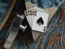 NEW PLAYING CARDS FULL HOUSE COLLAR TIPS (a pair)SILVER METAL,WESTERN MAGICIAN