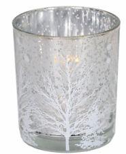 Set of 2 Tree design tealight holder  (Silver) Winter Forest
