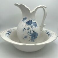 Vintage Royal Haeger 1970's Pitcher & Basin WHITE & BLUE FLOWERS Made In USA