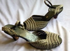 VINTAGE 1930s GREY CROCHET SHOES Heels Size 8 1/2