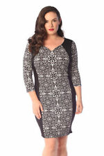 Stretch, Bodycon Casual Geometric Plus Size Dresses for Women
