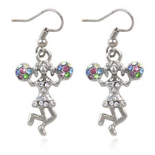 Cheerleader Girl Sport Dangle Charm Hook Earrings Colorful Pom Pom Birthday Gift