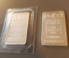 2 x 5g (10 grams) RARE JOHNSON MATTHEY (PLAIN & LOGO REVERSE) FINE SILVER BARS