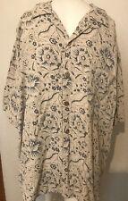 VTG Hawaiian Print Mens Aloha Wear 100% Silk Vintage Silk Large L Tan Green