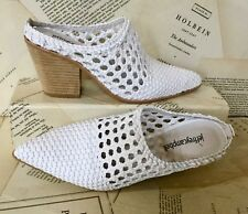Jeffrey Campbell Bootie Mule Weaved Western Style white Leather 9.5
