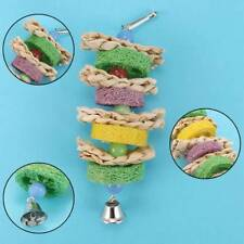 Chic Parrot Pet Bird Cage Hang Toys With Ball Bells Chew Bite Natural Straw Toy