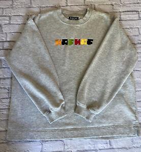 Vintage NAF NAF Spell Out 1990's Sweatshirt Jumper Grey Size Large