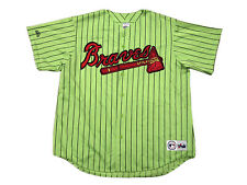 Vintage Atlanta Braves Majestic Lime Neon Green Jersey XXL Outkast MLB Baseball