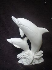 """E515 - Ceramic Bisque 5"""" Two Dolphins Figurines - Ready to Paint"""