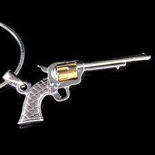 w Swarovski Crystal ~Long Barrel Revolver Colt Gun Pistol Pendant Chain Necklace