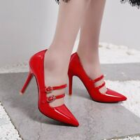 Womens Pointed Toe Stiletto High Heels Mary Janes Buckle Shoes Pumps Party Chic