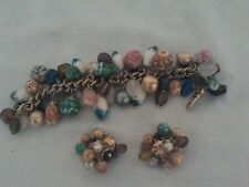 1950's Chunky Bracelet with Matching Clip On Earrings/Sea Colors/Stones & Shells