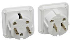 10 x UK AC 3 Pin Plug To USA Canada & Euro Schuko 2 Pin Dual Travel Adaptor Kit