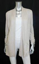 J JILL PETITE Oatmeal Beige 3/4 Sleeve Open Front Linen Cardigan Sweater sz PM