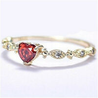 Fashion 18K Yellow Gold Filled Ruby Heart Ring Women Wedding Jewelry Size 6-10