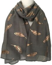 Ladies Grey Scarf Rose Gold Tone Feathers Large Foil Feather Shawl Womens Wrap