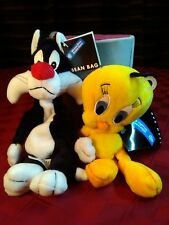"Warner Bros Sylvester & Tweety Bean Bag Plush Pair 9""L & 8""L 1998 Nos"