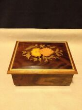 Vintage Reuge Wooden Swiss Movement Music Box with Floral Inlay Made in Italy
