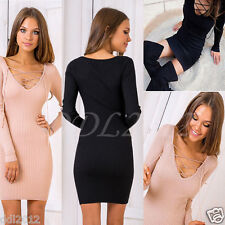 Women Autumn Sexy Lace Up Bandage Bodycon Cocktail Party Evening Mini Dress