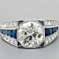 2 Ct Round off White Moissanite Art Deco Engagement Ring In 925 Sterling Silver