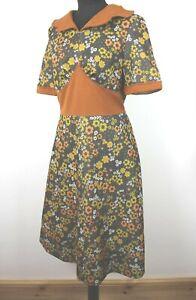Vintage 60s 70s Ditsy Yellow & Orange Floral Mod Festival Small Dress Handmade