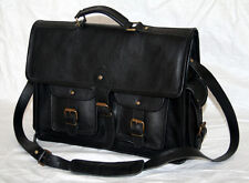 "Men's Leather Canvas Messenger Shoulder Bag Satchel 16"" Laptop Crossbody Bags"