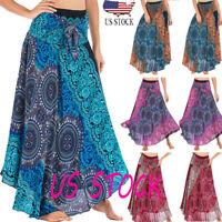 Women Loose Hippie Bohemian Gypsy Boho Elastic Waist Floral Halter Skirt Fashion