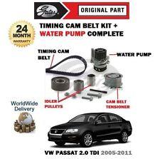 FOR VW PASSAT 2.0 TDI CC 2005-2011 TIMING CAM BELT TENSIONER KIT + WATER PUMP