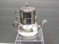 Antiq Bernard Rice's Son's Silver-Plate 3 Piece Stacking Tea Set Pot Sugar Cream