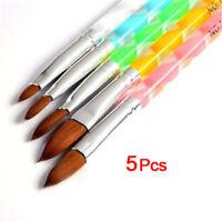 5pcs Nail Art Brushes Set UV Gel Acrylic Tips Polish Beauty Manicure Pen Tool FS