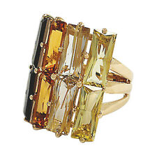 3451-14K YELLOW GOLD MULTI-COLOR QUARTZ RING 10.23GRAMS APPROX 14.16TCW SIZE 8