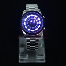 Men Waterproof Blue Binary LED Digital Metal Watch Fashion Wrist Watch Iron Band