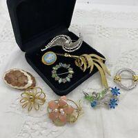 VINTAGE Brooch Lot of 10 Gold Silver Tone Collar Pin Retro Job Lot Bundle Mixed