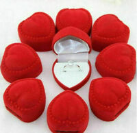 Wholesale 24x RED VELVET HEART SHAPED RING DISPLAY BOXES Gift Box Holder Case