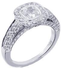 14K WHITE GOLD CUSHION CUT DIAMOND ENGAGEMENT RING BEZEL DECO BRIDAL HALO 1.45CT