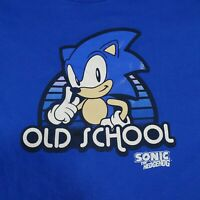 Vintage Sonic the Hedgehog SEGA T-Shirt XL Classic Old School Comic Blue Cotton